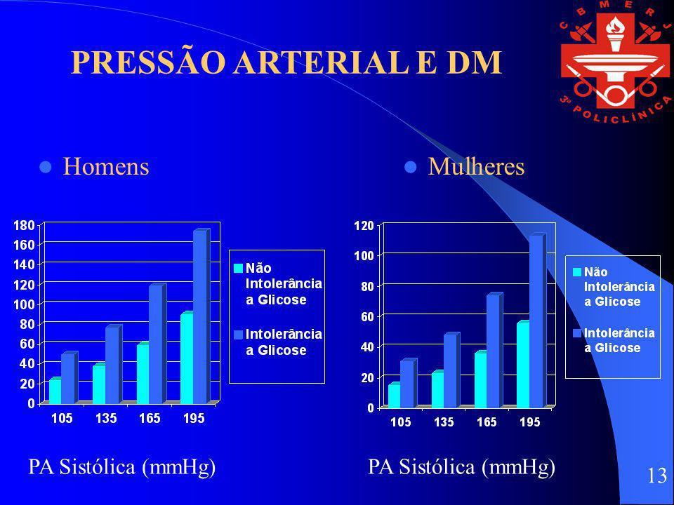 PRESSÃO ARTERIAL E DM Homens Mulheres PA Sistólica (mmHg) 13