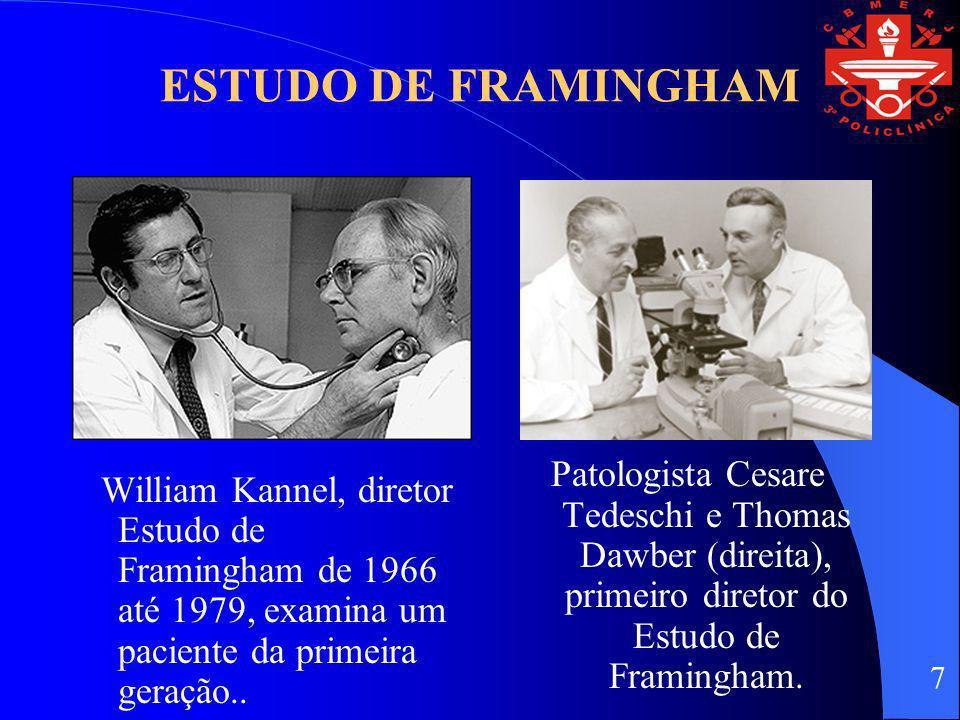William Kannel, diretor Estudo de Framingham de 1966 até 1979, examina um paciente da primeira geração.. Patologista Cesare Tedeschi e Thomas Dawber (