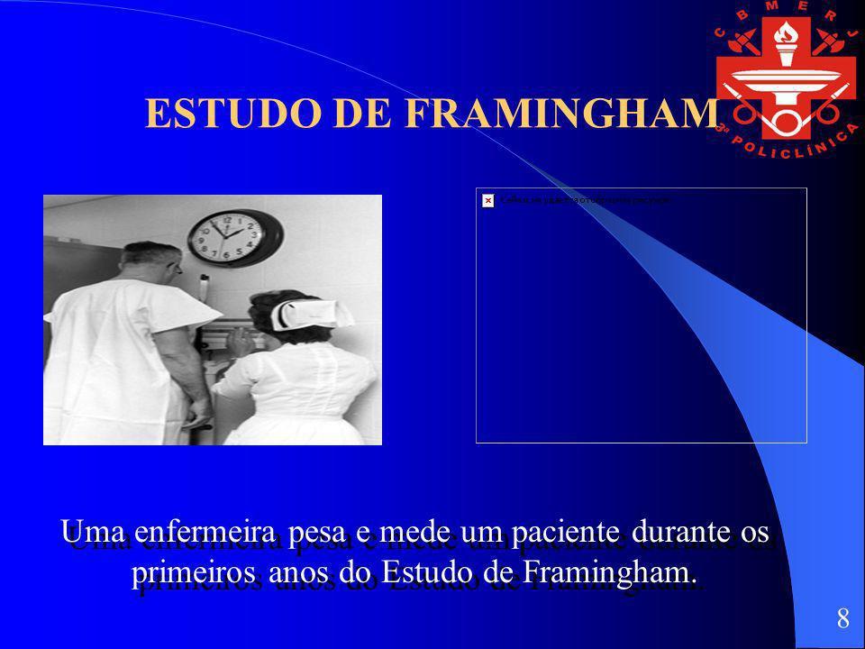 ESTUDO DE FRAMINGHAM Uma enfermeira pesa e mede um paciente durante os primeiros anos do Estudo de Framingham. 8