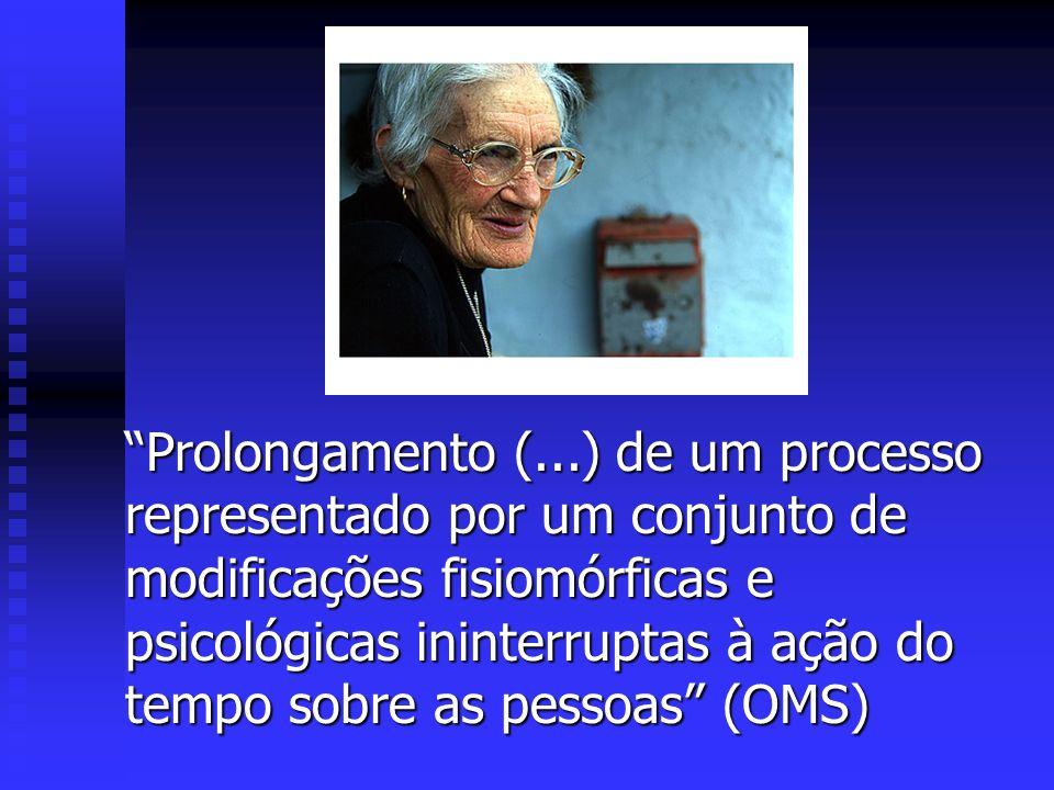 Prolongamento (...) de um processo representado por um conjunto de modificações fisiomórficas e psicológicas ininterruptas à ação do tempo sobre as pessoas (OMS)