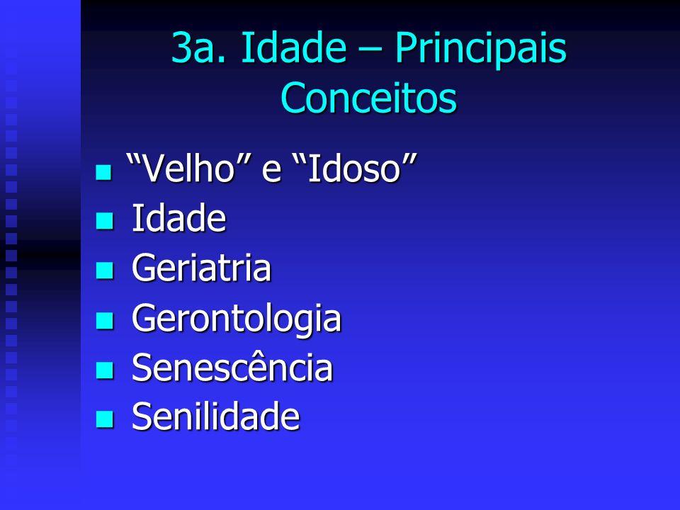 3a. Idade – Principais Conceitos Velho e Idoso Velho e Idoso Idade Idade Geriatria Geriatria Gerontologia Gerontologia Senescência Senescência Senilid