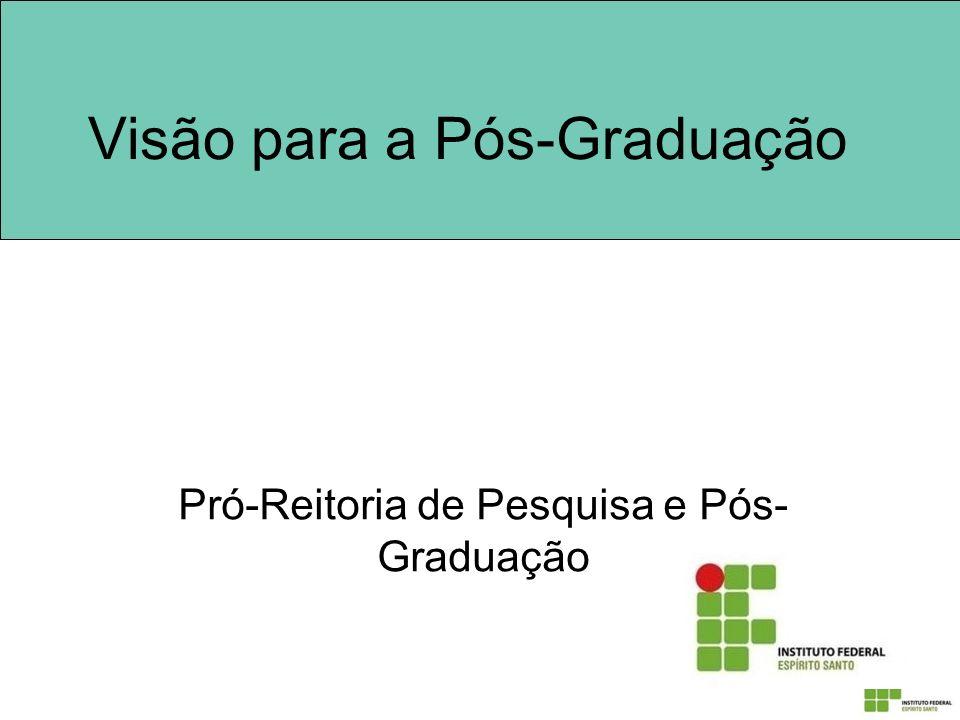 Visão para a Pós-Graduação Pró-Reitoria de Pesquisa e Pós- Graduação