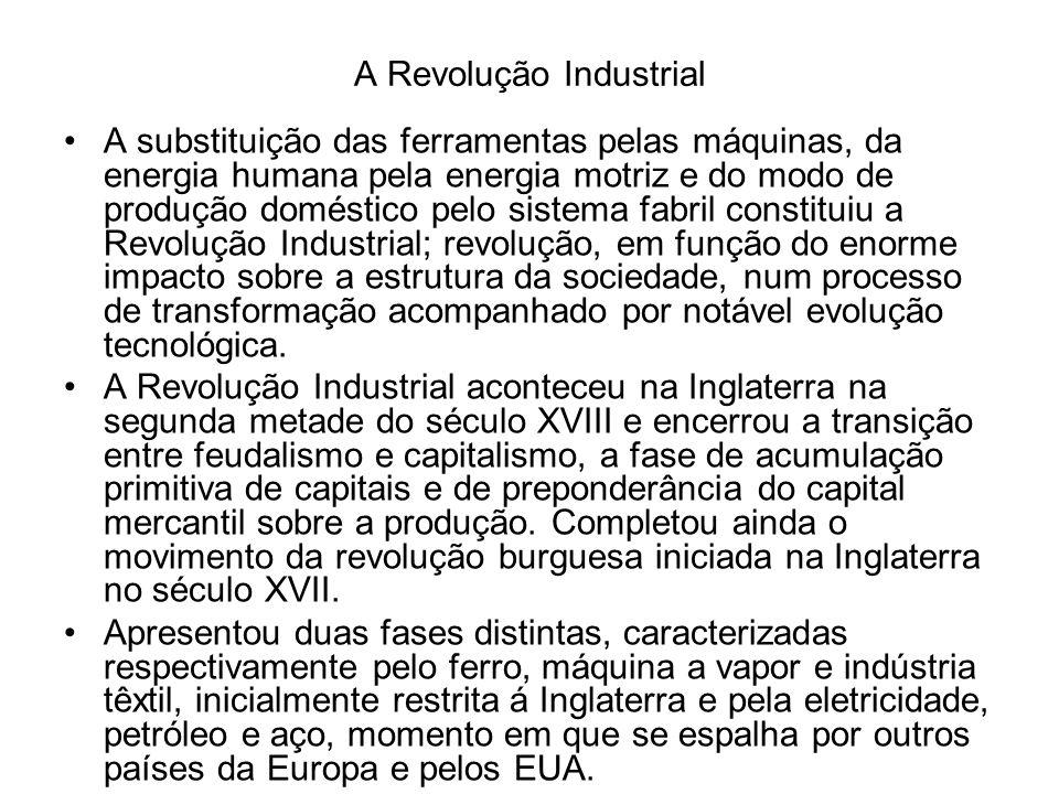Etapas da Industrialização Podem-se distinguir três períodos no processo de industrialização em escala mundial: 1760 a 1850 – A Revolução se restringe à Inglaterra, a oficina do mundo .