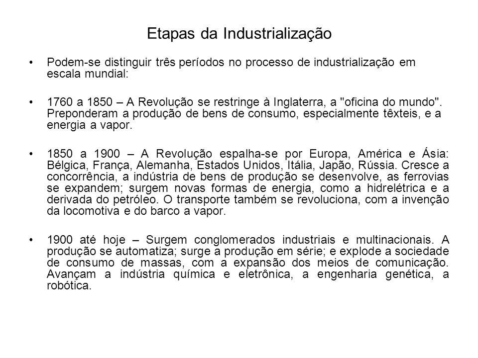 Etapas da Industrialização Podem-se distinguir três períodos no processo de industrialização em escala mundial: 1760 a 1850 – A Revolução se restringe
