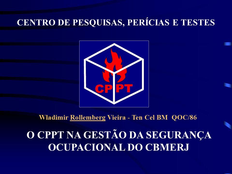 O CPPT NA GESTÃO DA SEGURANÇA OCUPACIONAL DO CBMERJ CENTRO DE PESQUISAS, PERÍCIAS E TESTES Wladimir Rollemberg Vieira - Ten Cel BM QOC/86