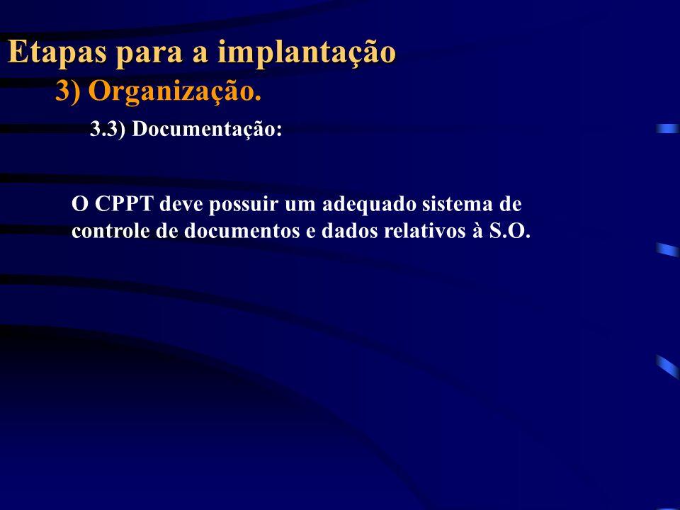 Etapas para a implantação 3) Organização. 3.3) Documentação: O CPPT deve possuir um adequado sistema de controle de documentos e dados relativos à S.O