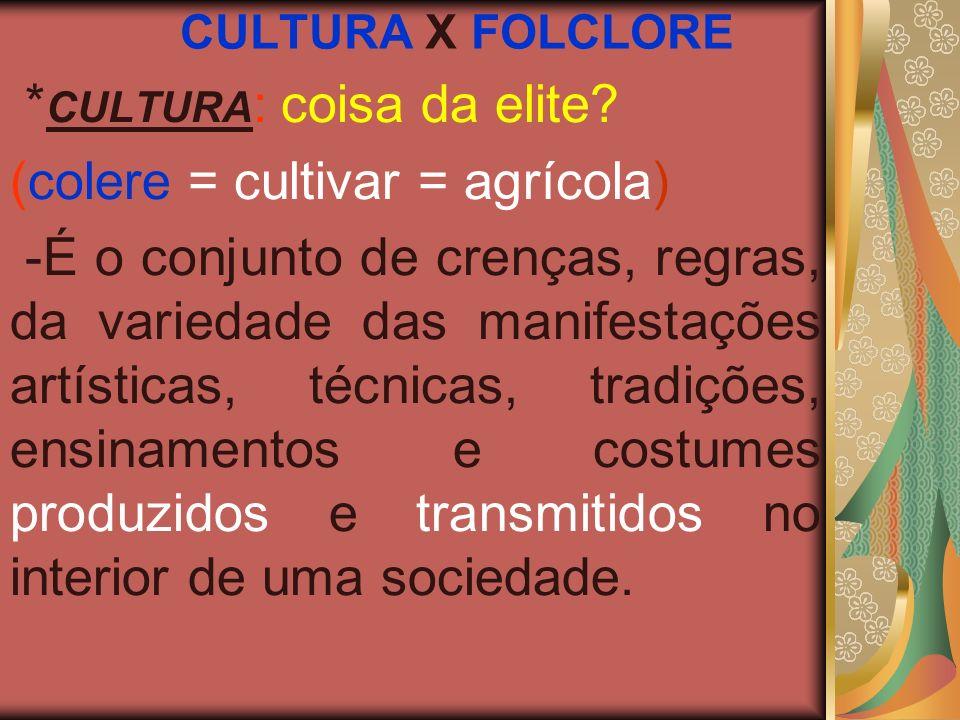 CULTURA X FOLCLORE * CULTURA : coisa da elite? (colere = cultivar = agrícola) -É o conjunto de crenças, regras, da variedade das manifestações artísti
