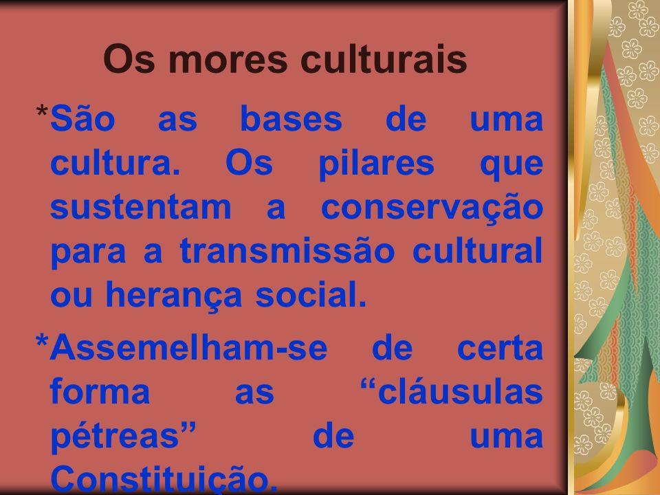 Os mores culturais *São as bases de uma cultura. Os pilares que sustentam a conservação para a transmissão cultural ou herança social. *Assemelham-se