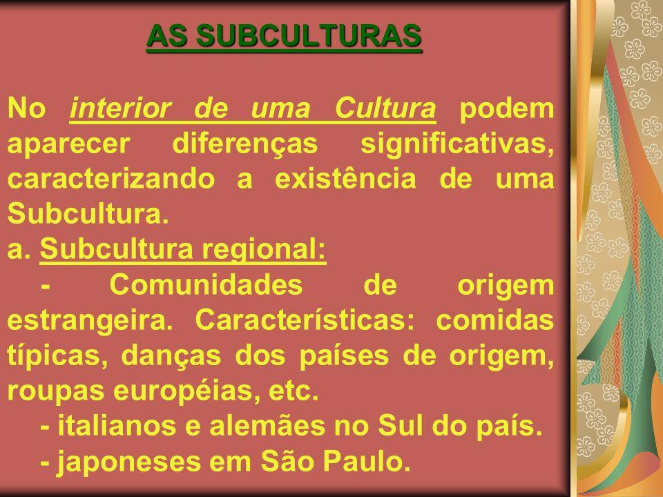 AS SUBCULTURAS No interior de uma Cultura podem aparecer diferenças significativas, caracterizando a existência de uma Subcultura. a. Subcultura regio