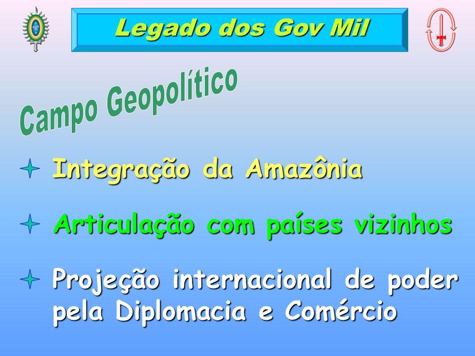 Legado dos Gov Mil Integração da Amazônia Articulação com países vizinhos Projeção internacional de poder pela Diplomacia e Comércio