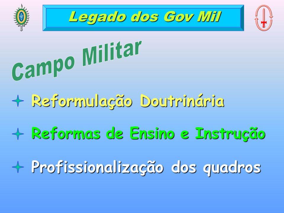Legado dos Gov Mil Reformulação Doutrinária Reformas de Ensino e Instrução Profissionalização dos quadros
