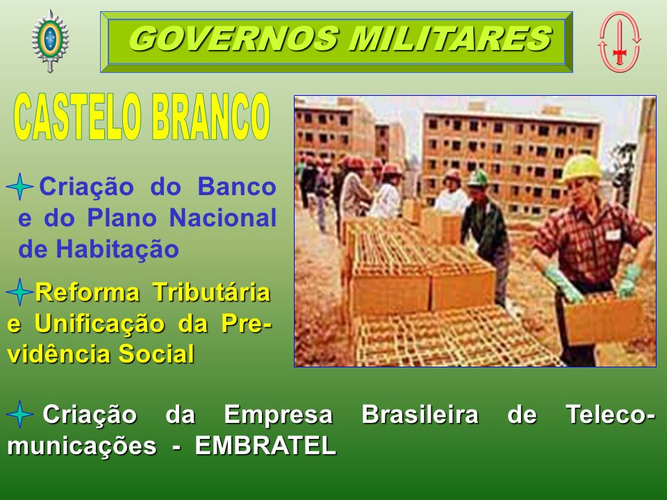 Criação da Empresa Brasileira de Teleco- municações - EMBRATEL Reforma Tributária e Unificação da Pre- vidência Social Criação do Banco e do Plano Nacional de Habitação GOVERNOS MILITARES