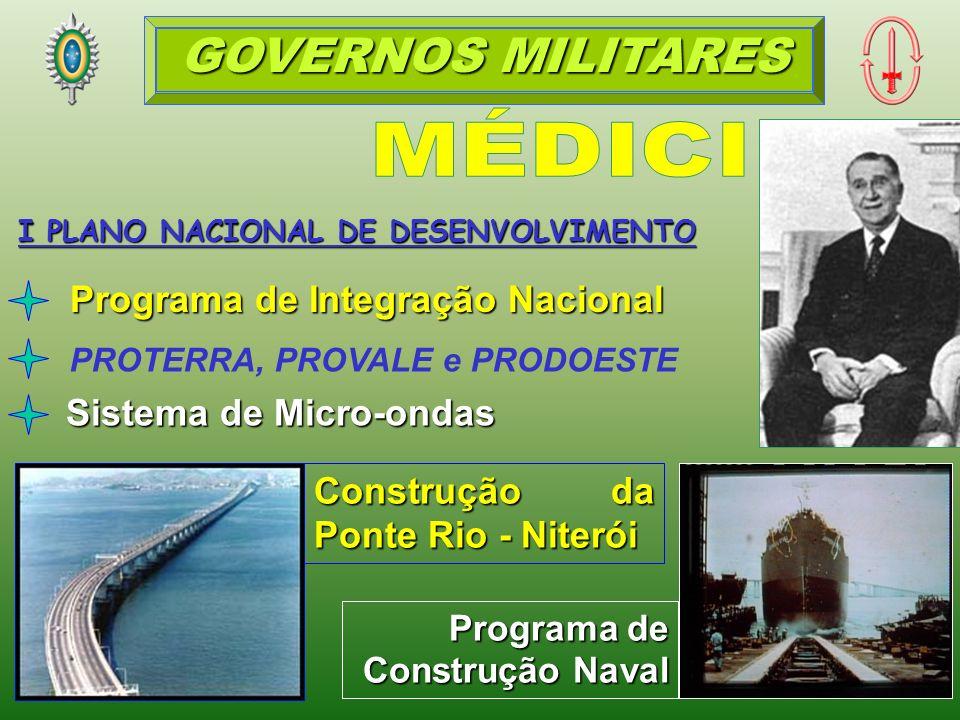 I PLANO NACIONAL DE DESENVOLVIMENTO Programa de Integração Nacional PROTERRA, PROVALE e PRODOESTE Construção da Ponte Rio - Niterói Sistema de Micro-ondas Programa de Construção Naval GOVERNOS MILITARES