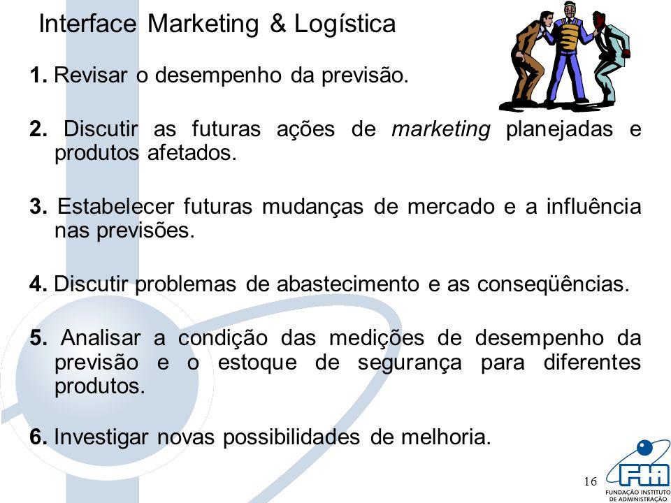 16 Interface Marketing & Logística 1. Revisar o desempenho da previsão. 2. Discutir as futuras ações de marketing planejadas e produtos afetados. 3. E