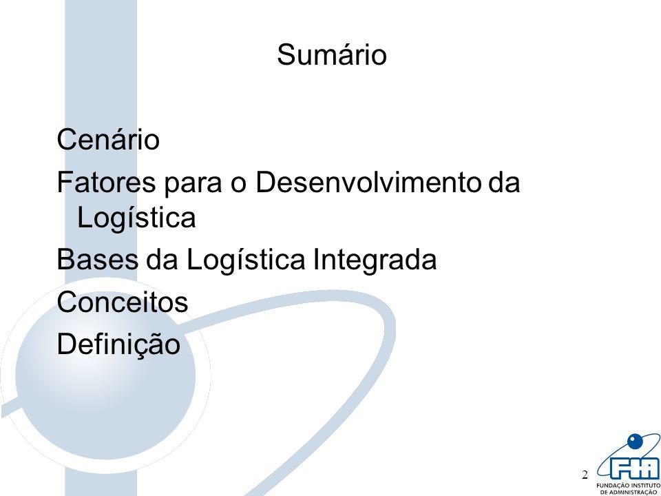 2 Sumário Cenário Fatores para o Desenvolvimento da Logística Bases da Logística Integrada Conceitos Definição