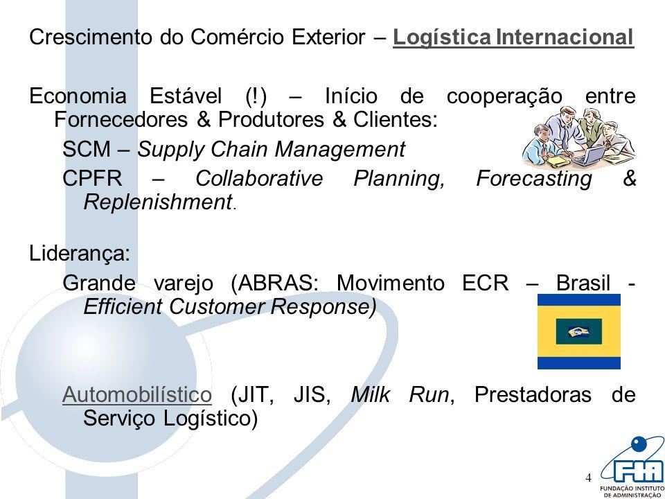 4 Crescimento do Comércio Exterior – Logística InternacionalLogística Internacional Economia Estável (!) – Início de cooperação entre Fornecedores & P