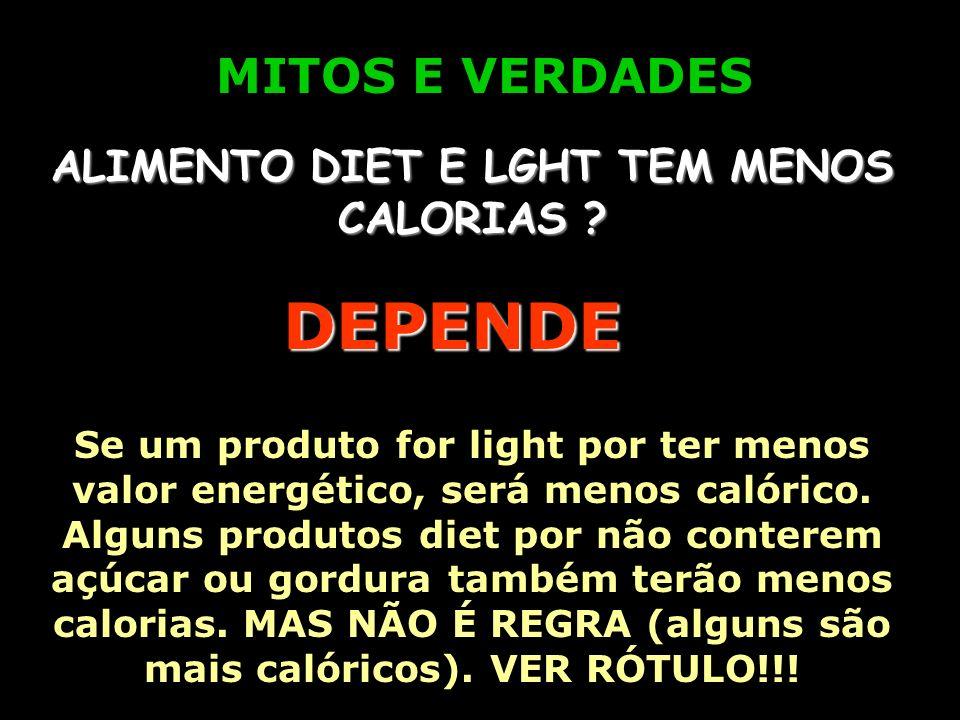 MITOS E VERDADES ALIMENTO LIGHT É SEM GORDURA ? NÃO Os produtos light são aqueles cujo valor energético (calorias) ou conteúdo de algum nutriente (açú