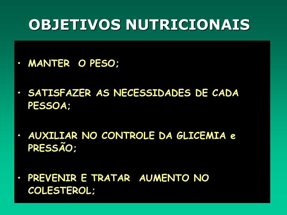 OBJETIVOS NUTRICIONAIS MANTER O PESO; SATISFAZER AS NECESSIDADES DE CADA PESSOA; AUXILIAR NO CONTROLE DA GLICEMIA e PRESSÃO; PREVENIR E TRATAR AUMENTO NO COLESTEROL;