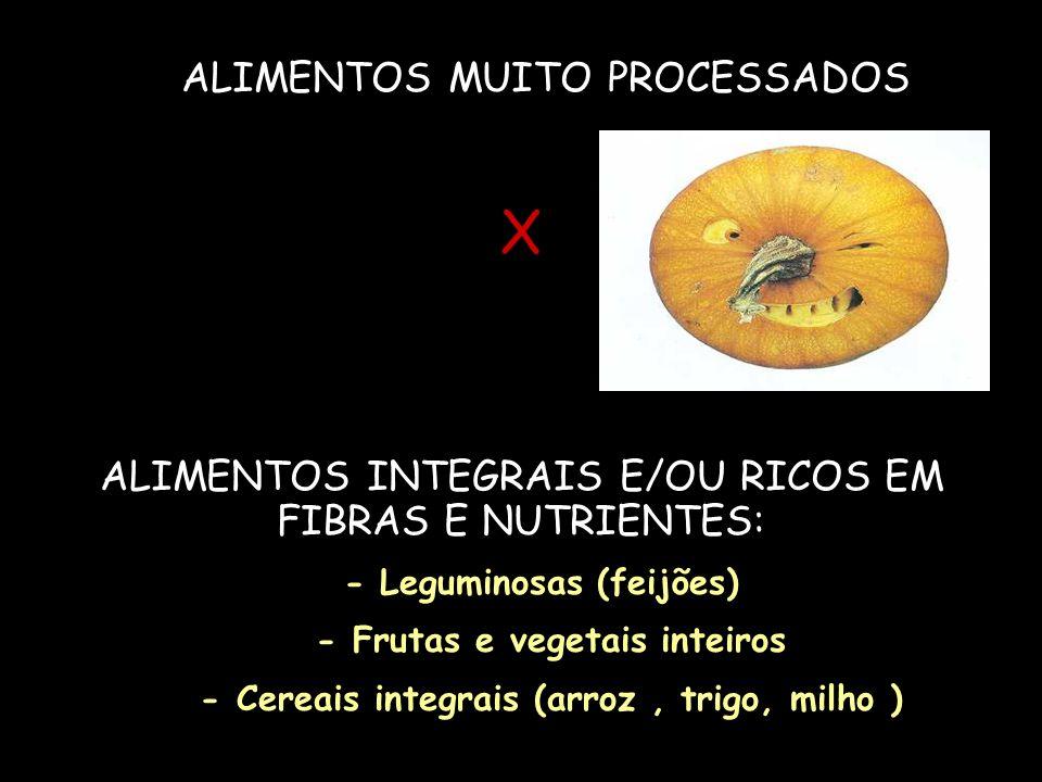ALIMENTOS MUITO PROCESSADOS X ALIMENTOS INTEGRAIS E/OU RICOS EM FIBRAS E NUTRIENTES: - Leguminosas (feijões) - Frutas e vegetais inteiros - Cereais integrais (arroz, trigo, milho )