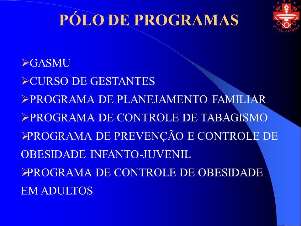 GASMU CURSO DE GESTANTES PROGRAMA DE PLANEJAMENTO FAMILIAR PROGRAMA DE CONTROLE DE TABAGISMO PROGRAMA DE PREVENÇÃO E CONTROLE DE OBESIDADE INFANTO-JUVENIL PROGRAMA DE CONTROLE DE OBESIDADE EM ADULTOS PÓLO DE PROGRAMAS