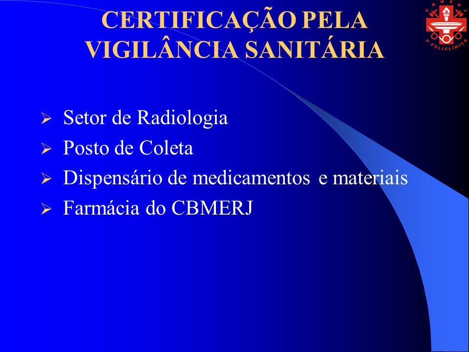 CERTIFICAÇÃO PELA VIGILÂNCIA SANITÁRIA Setor de Radiologia Posto de Coleta Dispensário de medicamentos e materiais Farmácia do CBMERJ