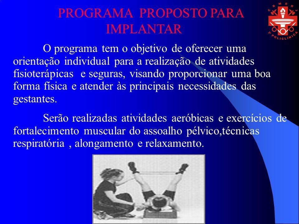 PROGRAMA PROPOSTO PARA IMPLANTAR O programa tem o objetivo de oferecer uma orientação individual para a realização de atividades fisioterápicas e segu