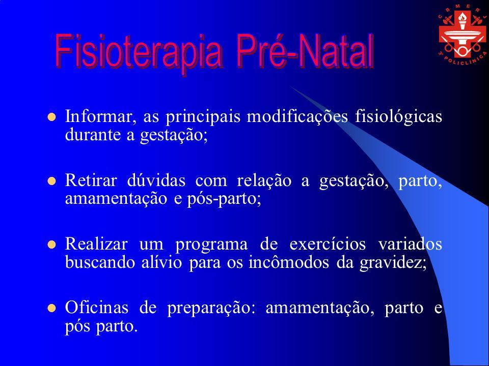 Informar, as principais modificações fisiológicas durante a gestação; Retirar dúvidas com relação a gestação, parto, amamentação e pós-parto; Realizar