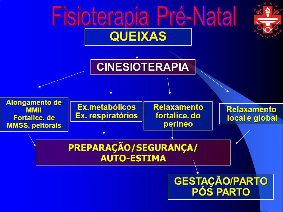QUEIXAS CINESIOTERAPIA Alongamento de MMII Fortalice. de MMSS, peitorais Ex.metabólicos Ex. respiratórios Relaxamento fortalice. do períneo Relaxament