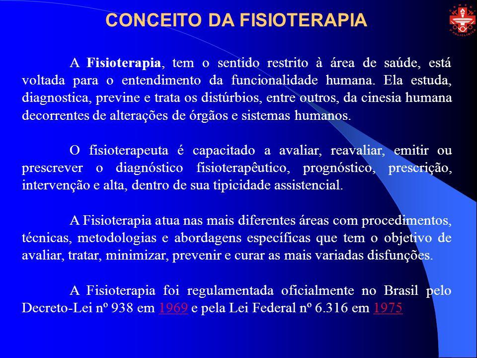 CONCEITO DA FISIOTERAPIA A Fisioterapia, tem o sentido restrito à área de saúde, está voltada para o entendimento da funcionalidade humana. Ela estuda