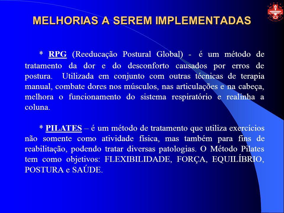 MELHORIAS A SEREM IMPLEMENTADAS * RPG (Reeducação Postural Global) - é um método de tratamento da dor e do desconforto causados por erros de postura.