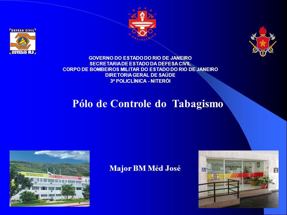 GOVERNO DO ESTADO DO RIO DE JANEIRO SECRETARIA DE ESTADO DA DEFESA CIVIL CORPO DE BOMBEIROS MILITAR DO ESTADO DO RIO DE JANEIRO DIRETORIA GERAL DE SAÚDE 3ª POLICLÍNICA - NITERÓI Pólo de Controle do Tabagismo Major BM Méd José