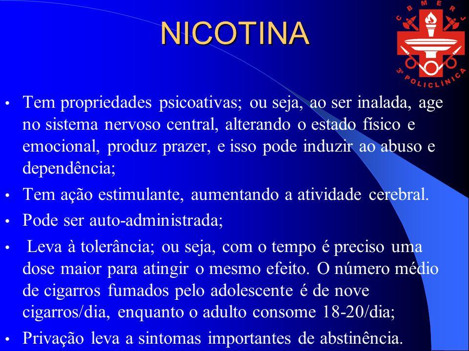 NICOTINA Tem propriedades psicoativas; ou seja, ao ser inalada, age no sistema nervoso central, alterando o estado físico e emocional, produz prazer, e isso pode induzir ao abuso e dependência; Tem ação estimulante, aumentando a atividade cerebral.