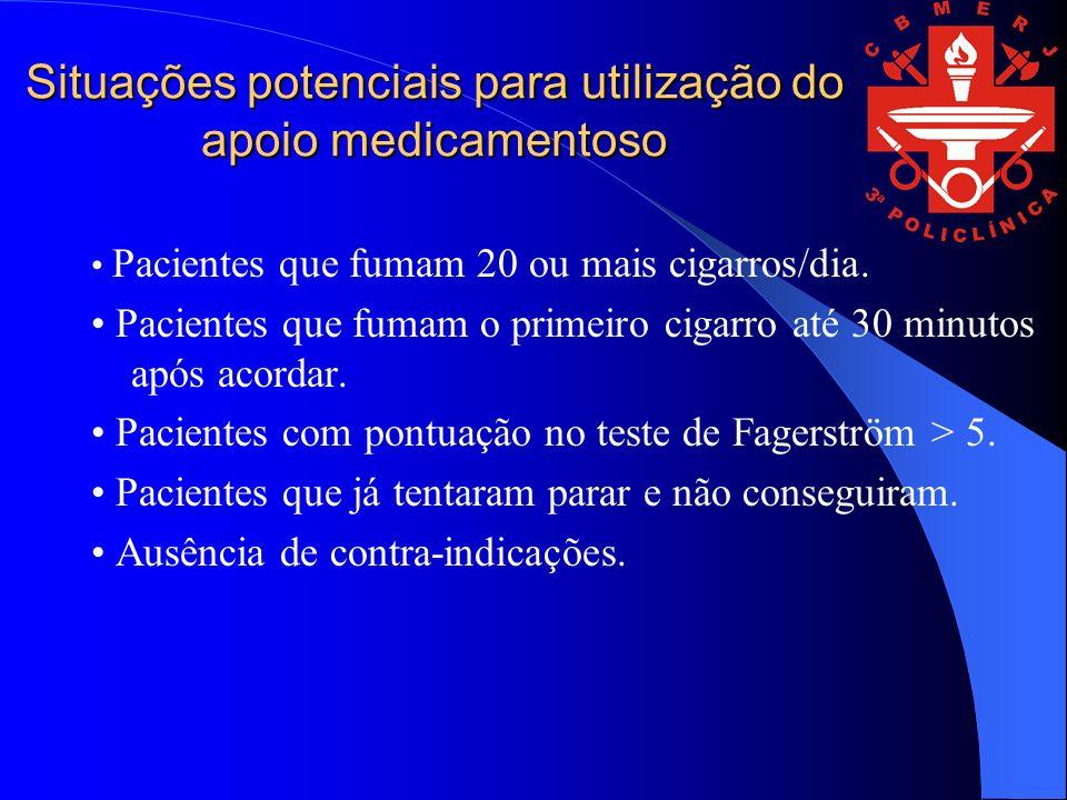Situações potenciais para utilização do apoio medicamentoso Pacientes que fumam 20 ou mais cigarros/dia. Pacientes que fumam o primeiro cigarro até 30