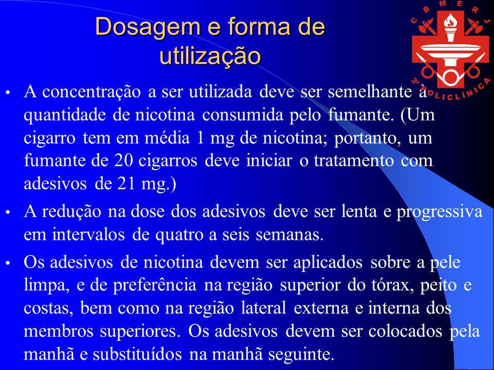 Dosagem e forma de utilização A concentração a ser utilizada deve ser semelhante à quantidade de nicotina consumida pelo fumante.