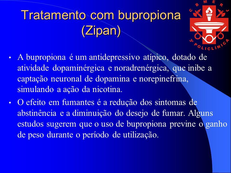 Tratamento com bupropiona (Zipan) A bupropiona é um antidepressivo atípico, dotado de atividade dopaminérgica e noradrenérgica, que inibe a captação neuronal de dopamina e norepinefrina, simulando a ação da nicotina.