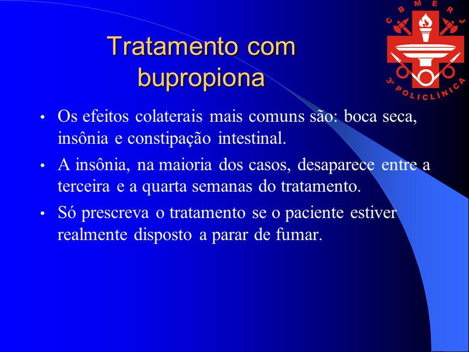 Tratamento com bupropiona Os efeitos colaterais mais comuns são: boca seca, insônia e constipação intestinal.