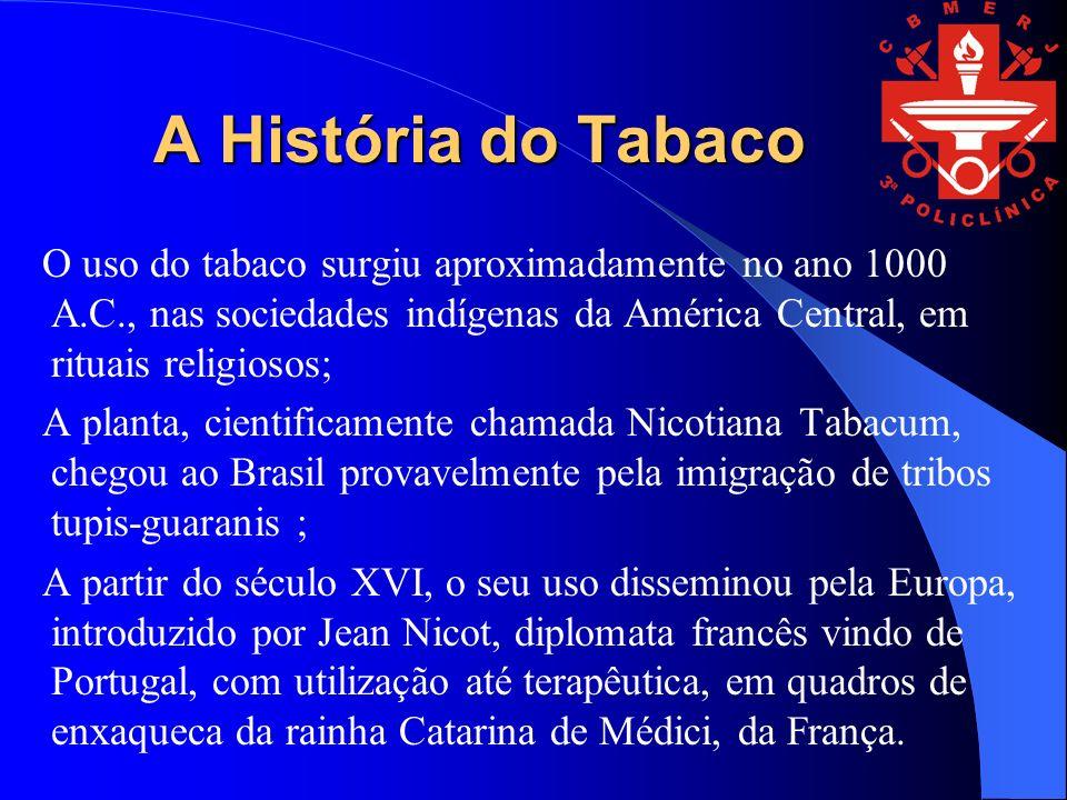A História do Tabaco O uso do tabaco surgiu aproximadamente no ano 1000 A.C., nas sociedades indígenas da América Central, em rituais religiosos; A pl