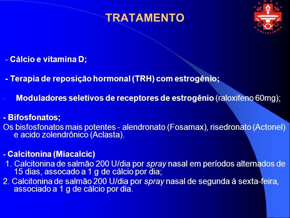 TRATAMENTO - Cálcio e vitamina D; - Terapia de reposição hormonal (TRH) com estrogênio; - Moduladores seletivos de receptores de estrogênio (raloxifen