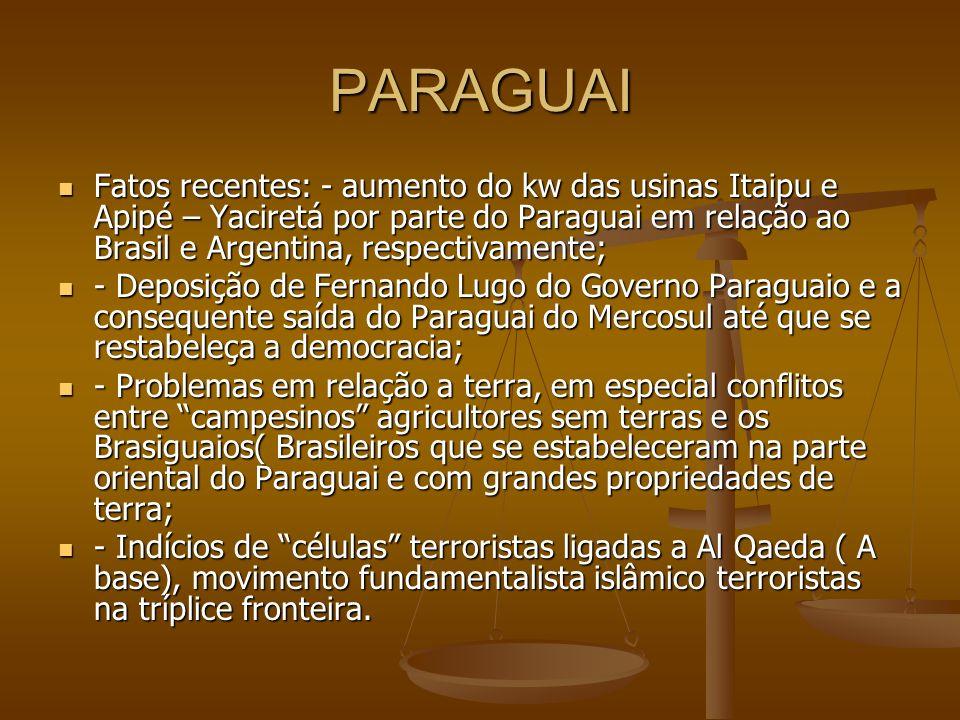 PARAGUAI Fatos recentes: - aumento do kw das usinas Itaipu e Apipé – Yaciretá por parte do Paraguai em relação ao Brasil e Argentina, respectivamente;