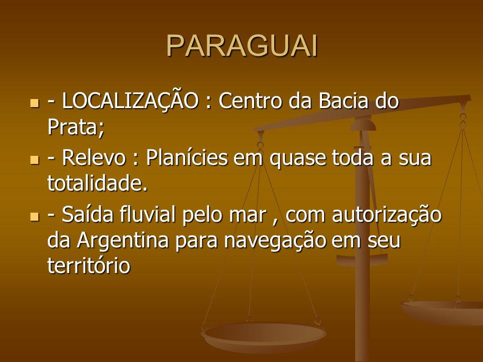 PARAGUAI - LOCALIZAÇÃO : Centro da Bacia do Prata; - LOCALIZAÇÃO : Centro da Bacia do Prata; - Relevo : Planícies em quase toda a sua totalidade. - Re
