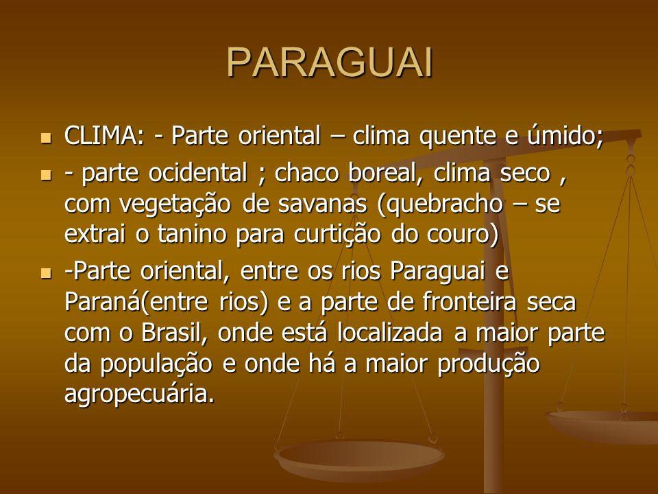 PARAGUAI CLIMA: - Parte oriental – clima quente e úmido; CLIMA: - Parte oriental – clima quente e úmido; - parte ocidental ; chaco boreal, clima seco,