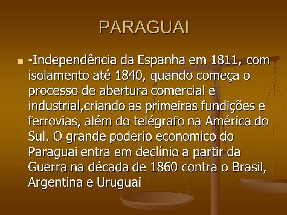 PARAGUAI -Independência da Espanha em 1811, com isolamento até 1840, quando começa o processo de abertura comercial e industrial,criando as primeiras