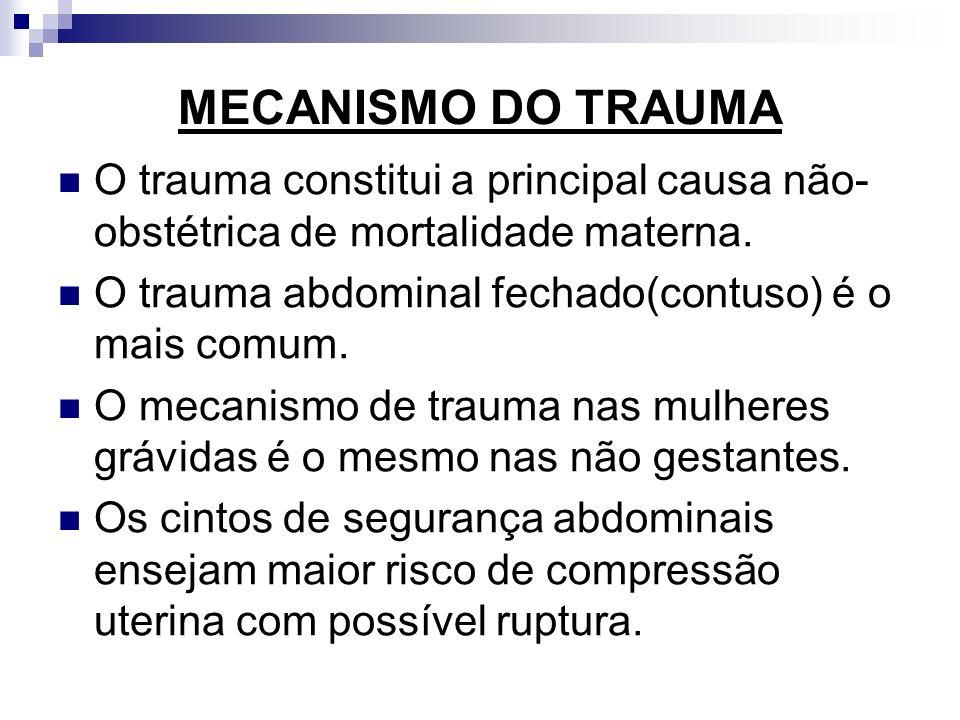 MECANISMO DO TRAUMA O trauma constitui a principal causa não- obstétrica de mortalidade materna. O trauma abdominal fechado(contuso) é o mais comum. O