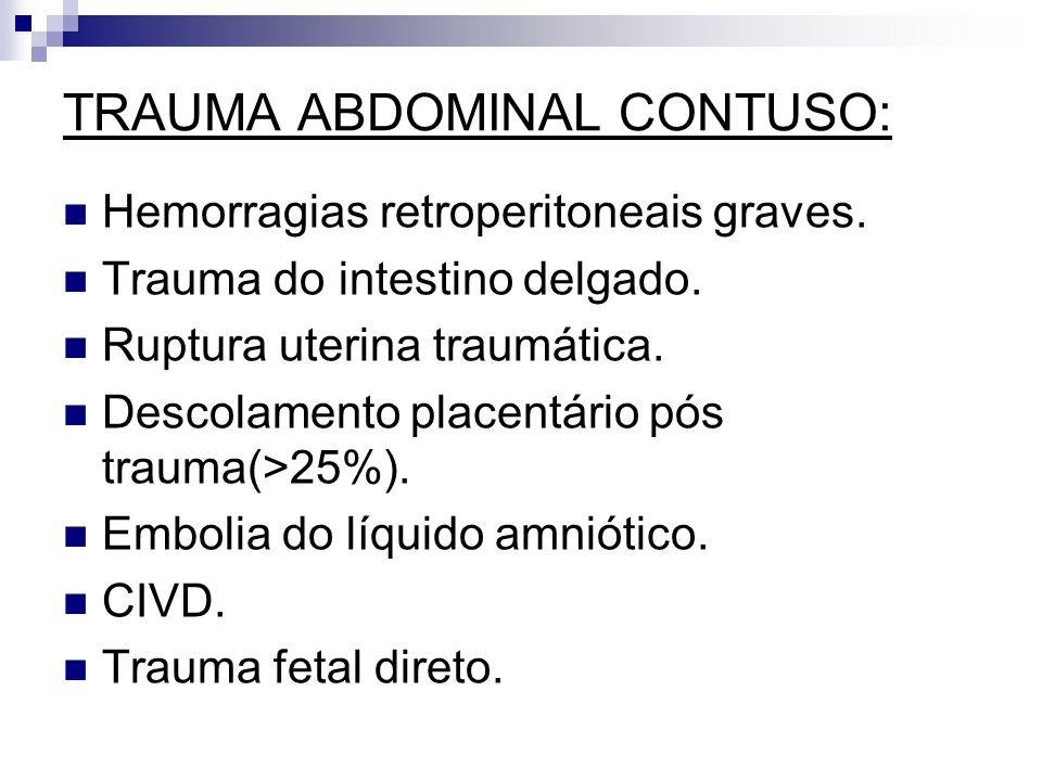 TRAUMA ABDOMINAL CONTUSO: Hemorragias retroperitoneais graves. Trauma do intestino delgado. Ruptura uterina traumática. Descolamento placentário pós t
