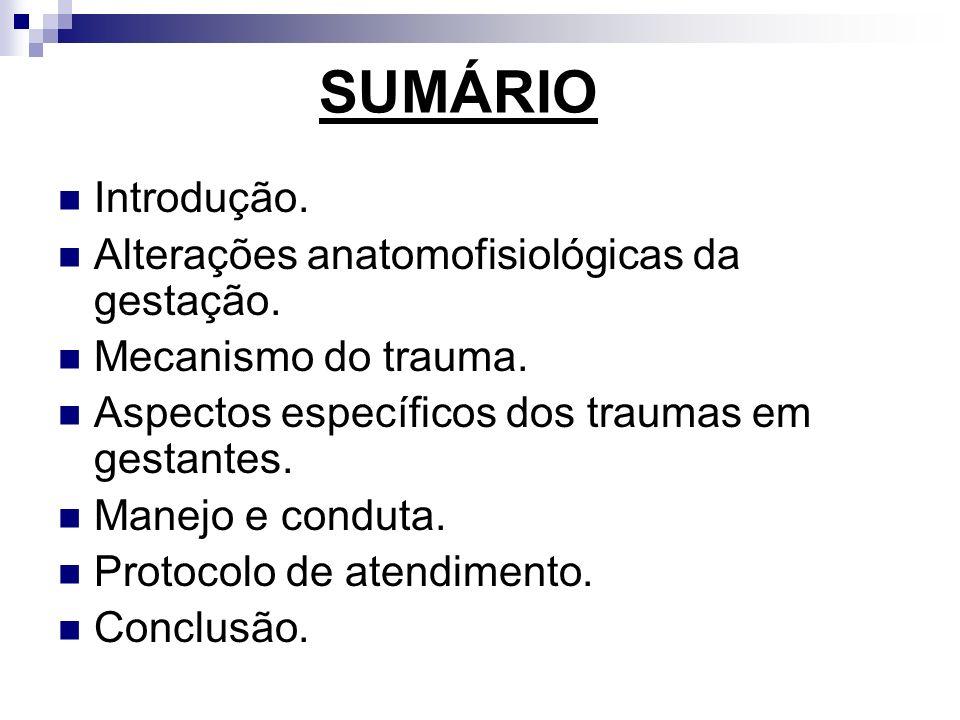 SUMÁRIO Introdução. Alterações anatomofisiológicas da gestação. Mecanismo do trauma. Aspectos específicos dos traumas em gestantes. Manejo e conduta.
