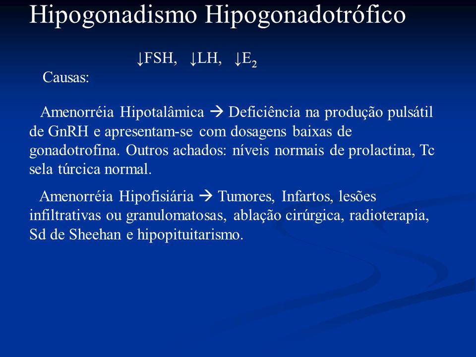 Hipogonadismo Hipogonadotrófico FSH, LH, E 2 Causas: Amenorréia Hipotalâmica Deficiência na produção pulsátil de GnRH e apresentam-se com dosagens bai