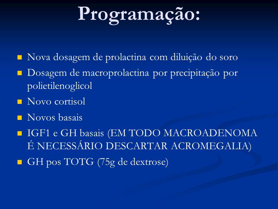 Programação: Nova dosagem de prolactina com diluição do soro Dosagem de macroprolactina por precipitação por polietilenoglicol Novo cortisol Novos bas