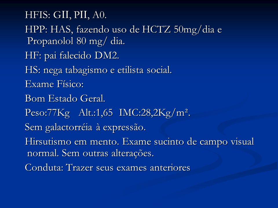 HFIS: G, P, A0. HFIS: G, P, A0. HPP: HAS, fazendo uso de HCTZ 50mg/dia e Propanolol 80 mg/ dia. HPP: HAS, fazendo uso de HCTZ 50mg/dia e Propanolol 80