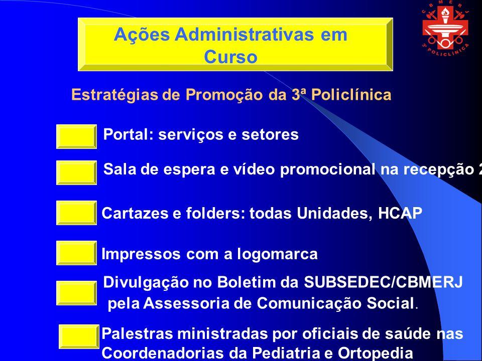 Portal: serviços e setores Sala de espera e vídeo promocional na recepção 2 Cartazes e folders: todas Unidades, HCAP Impressos com a logomarca Divulgação no Boletim da SUBSEDEC/CBMERJ pela Assessoria de Comunicação Social.