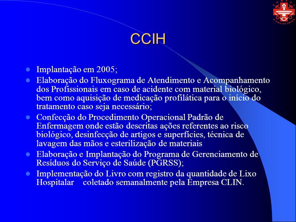CCIH Implantação em 2005; Elaboração do Fluxograma de Atendimento e Acompanhamento dos Profissionais em caso de acidente com material biológico, bem c